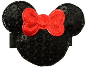 Minnie Mouse Sequin Hair Clip with Red Bow - Dream Lily Designs