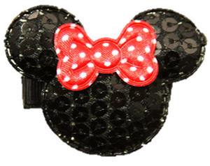 Minnie Mouse Sequin Hair Clip with Red Polka Dot Bow - Dream Lily Designs