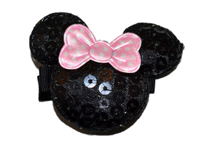 Minnie Mouse Sequin Hair Clip with Light Pink Polka Dot Bow - Dream Lily Designs