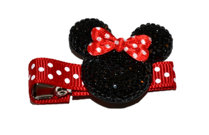 Black Minnie Mouse Rhinestone Hair Clip with Red Polka Dot Bow - Dream Lily Designs