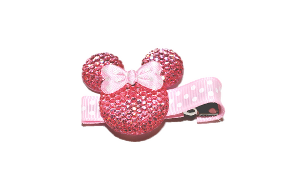 Light Pink Minnie Mouse Rhinestone Hair Clip with Light Pink Bow - Dream Lily Designs
