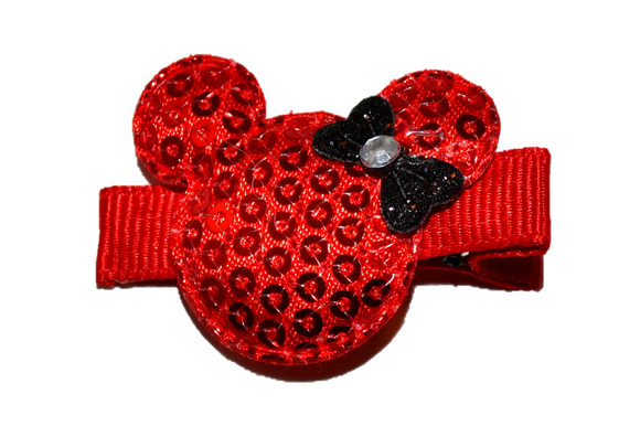 Mini Red Minnie Mouse Sequin Hair Clip with Black Bow - Dream Lily Designs