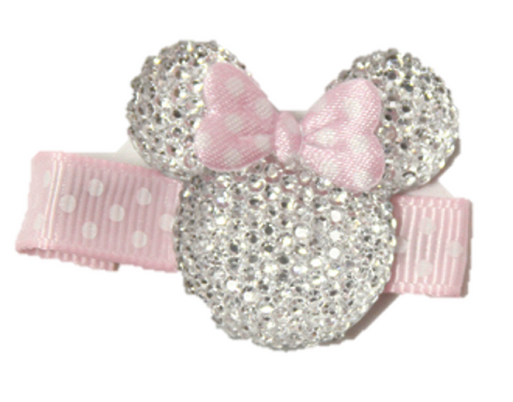 Clear Minnie Mouse Rhinestone Hair Clip with Light Pink Bow - Dream Lily Designs