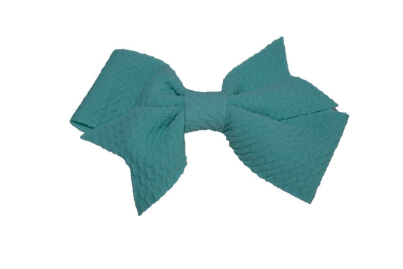 Aqua Nylon Fabric Single Pinwheel Baby Hair Bow - Dream Lily Designs