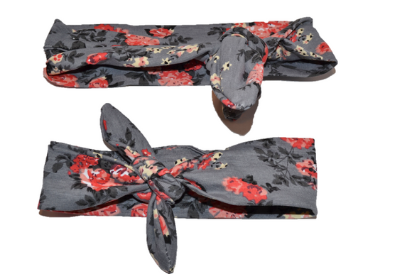 Grey Floral Mommy and Me Knot Headband - Dream Lily Designs
