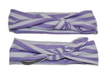Purple and White Stripes Mommy and Me Knot Headband - Dream Lily Designs