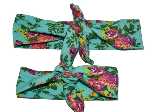 Teal Floral Mommy and Me Knot Headband - Dream Lily Designs