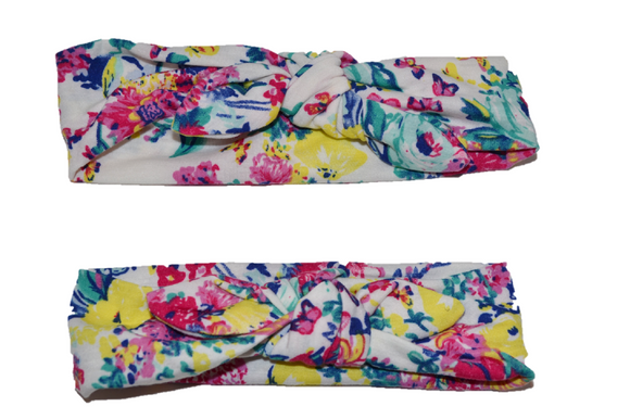White and Colorful Floral Mommy and Me Knot Headband - Dream Lily Designs