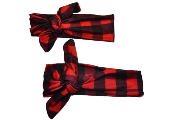 Buffalo Plaid Mommy and Me Knot Headband - Dream Lily Designs