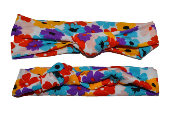 Colorful Flower Mommy and Me Knot Headband - Dream Lily Designs
