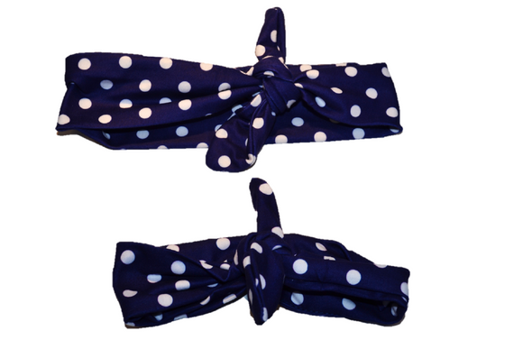 Navy Blue with White Polka Dots Mommy and Me Knot Headband - Dream Lily Designs