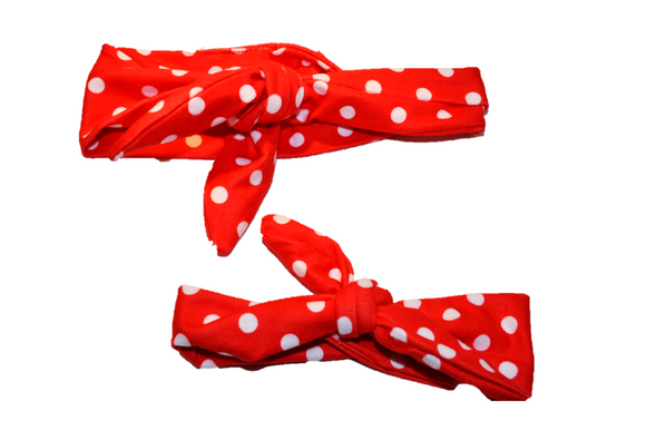 Red with White Polka Dots Mommy and Me Knot Headband - Dream Lily Designs