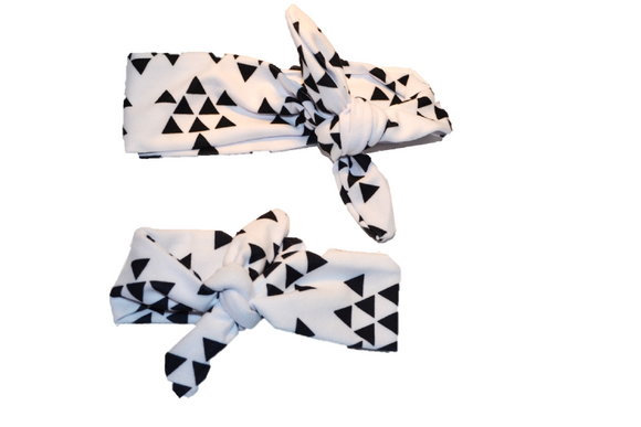 White with Black Triangles Mommy and Me Knot Headband - Dream Lily Designs
