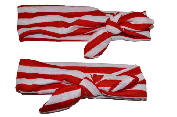 Red and White Stripes Mommy and Me Headband