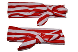Red and White Stripes Mommy and Me Knot Headband - Dream Lily Designs