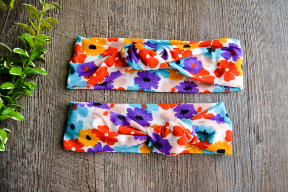 Colorful Flowers - Knot only (no bunny ears) Mommy and Me Knot Headband - Dream Lily Designs