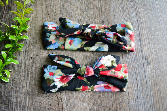 Black Olive Blue Maroon Flowers Mommy and Me Knot Headband - Dream Lily Designs