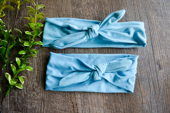 Light Blue Mommy and Me Knot Headband - Dream Lily Designs