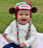 Colorful Monkey Crochet Hat with Tails - Dream Lily Designs