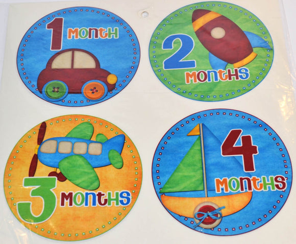 Milestone Stickers - Blue Yellow Green Transportation Truck Car - Dream Lily Designs