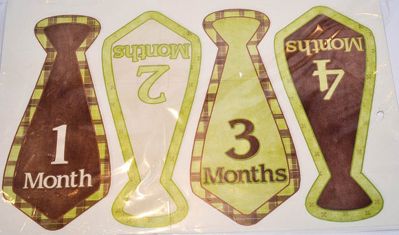 Milestone Stickers - Green Brown Tie - Dream Lily Designs