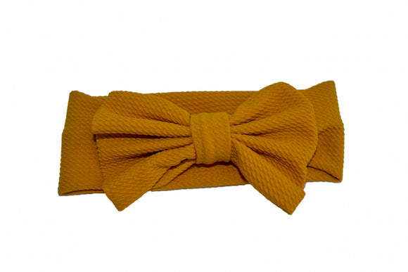 Fabric Bow Baby Headband - Mustard Yellow - Dream Lily Designs