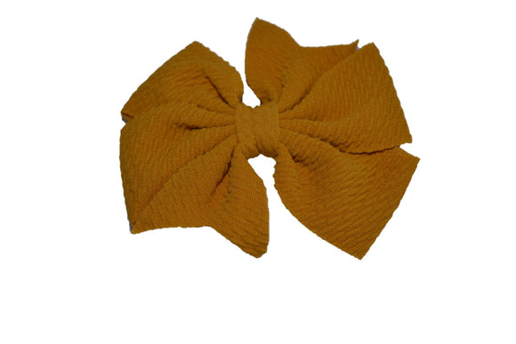 Mustard Yellow Nylon Fabric Double Pinwheel Baby Hair Bow - Dream Lily Designs