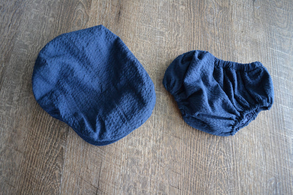 Boy Cabbie Hat, Tie and Diaper Cover Set - Navy Blue Hat and Diaper Cover Only - Dream Lily Designs