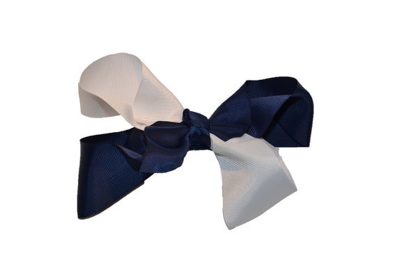 Navy Blue White School Spirit 6 Inch Boutique Hair Bow - Dream Lily Designs