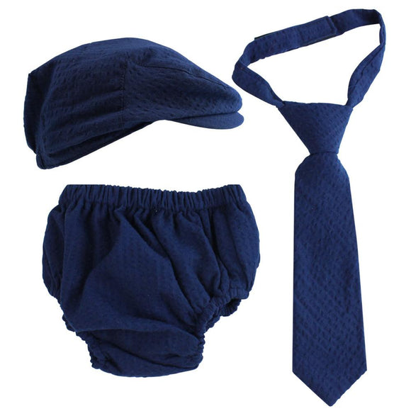 Boy Cabbie Hat, Tie and Diaper Cover Set - Navy Blue - Dream Lily Designs