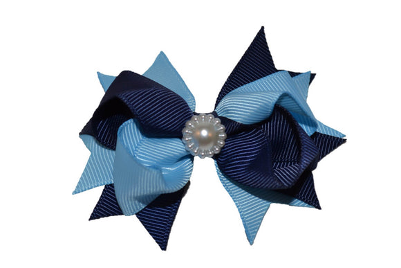 Navy Blue and Light Blue Stacked 3 Inch Boutique Hair Bow - Dream Lily Designs