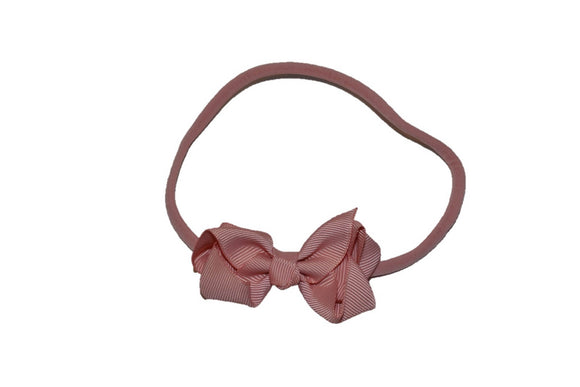Light Mauve Boutique Bow Baby Nylon Headband - Dream Lily Designs