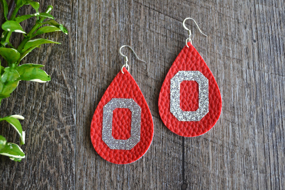 Block Ohio State Red Silver Glitter Logo Teardrop Faux Leather Earrings - Dream Lily Designs
