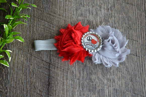 Ohio State Red White Grey Headband - Peace Love Ohio State Bottlecap - INFANT - Dream Lily Designs