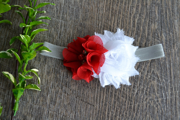Ohio State Red White Grey Headband - Red White Flower - INFANT - Dream Lily Designs