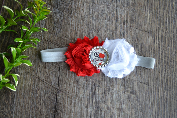 Ohio State Red White Grey Headband - Peace Love Ohio State Bottlecap - Dream Lily Designs