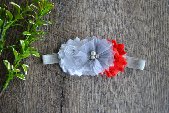 Ohio State Red White Grey Headband - Red White with Grey Tulle - Dream Lily Designs
