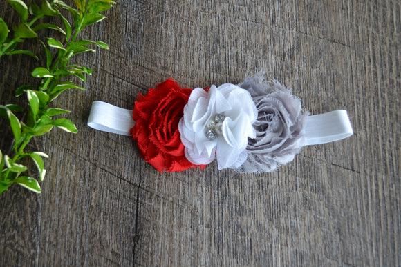 Ohio State Red White Grey Headband - Red Grey with White Crystal Flower - Dream Lily Designs