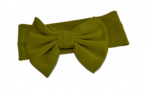 Fabric Bow Baby Headband - Olive Green - Dream Lily Designs