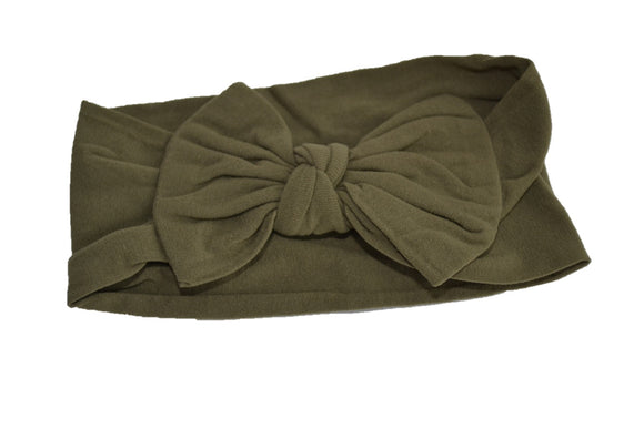 Olive Green Nylon Bow Knot Baby Wide Headband - Dream Lily Designs