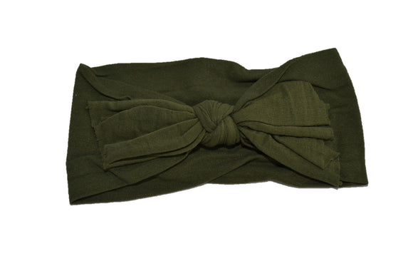 Olive Green Nylon Ragged Knot Baby Wide Headband - Dream Lily Designs