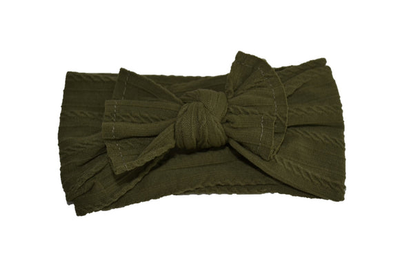 Olive Green Nylon Ribbed Knot Baby Wide Headband - Dream Lily Designs