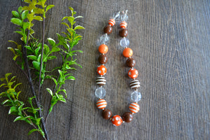 "Orange Brown Chunky ""Bubblegum Bead"" Necklace - Dream Lily Designs"