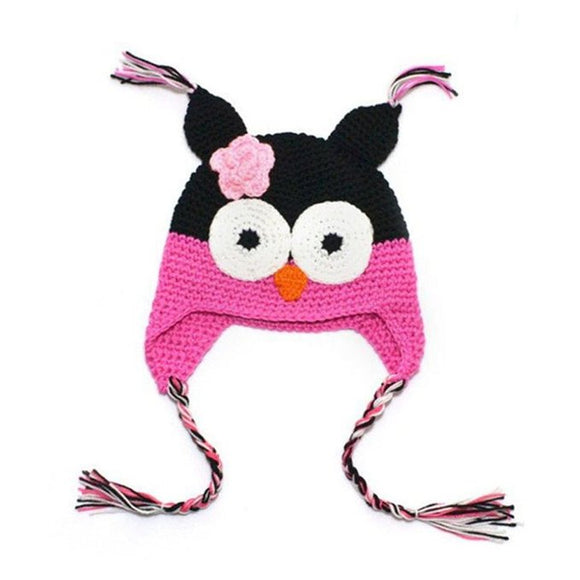 Pink and Black Owl Crochet Hat - Dream Lily Designs