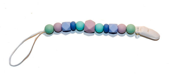Teething Pacifier Clip - Pink Grey Teal Blue
