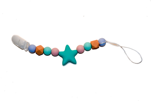 Teething Pacifier Clip -  Mint Star, Blue, Pink, Peach