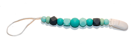 Teething Pacifier Clip - Teal Grey