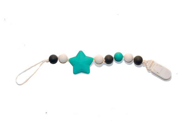 Teething Pacifier Clip -  Mint Star, Grey, White