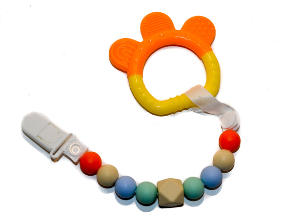 Teething Pacifier Clip -  Yellow Orange Green Blue Yellow with Ring