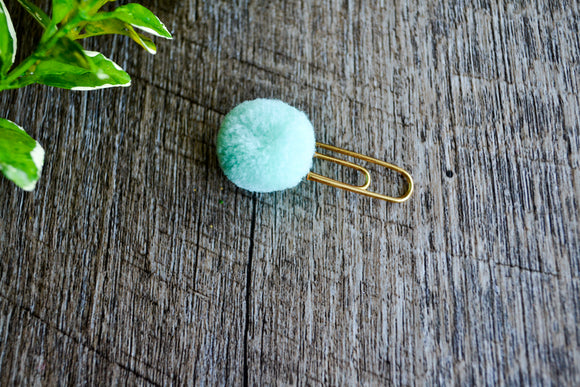 Cute Bookmark - Pom Pom -Aqua Mint Green - Dream Lily Designs
